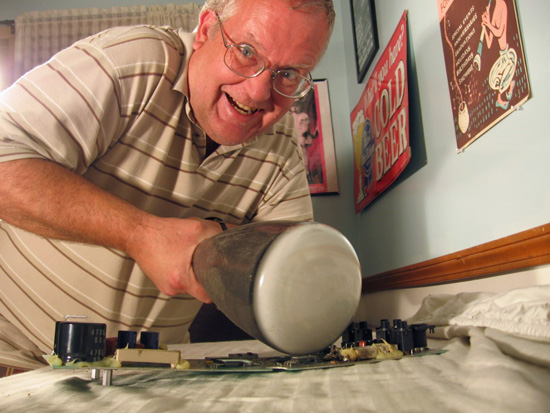 Dave Lancaster of Lancaster Amplification roughs up a PC board amp
